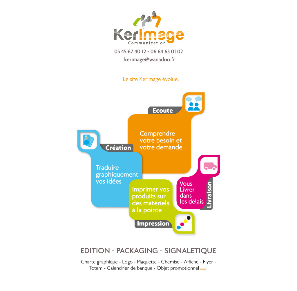 Kerimage - Communication par l'image - Edition de catalogues, brochures papier, packaging, réalisation de site internet, 05 45 67 40 12 - 06 64 63 01 02 - kerimage@wanadoo.fr